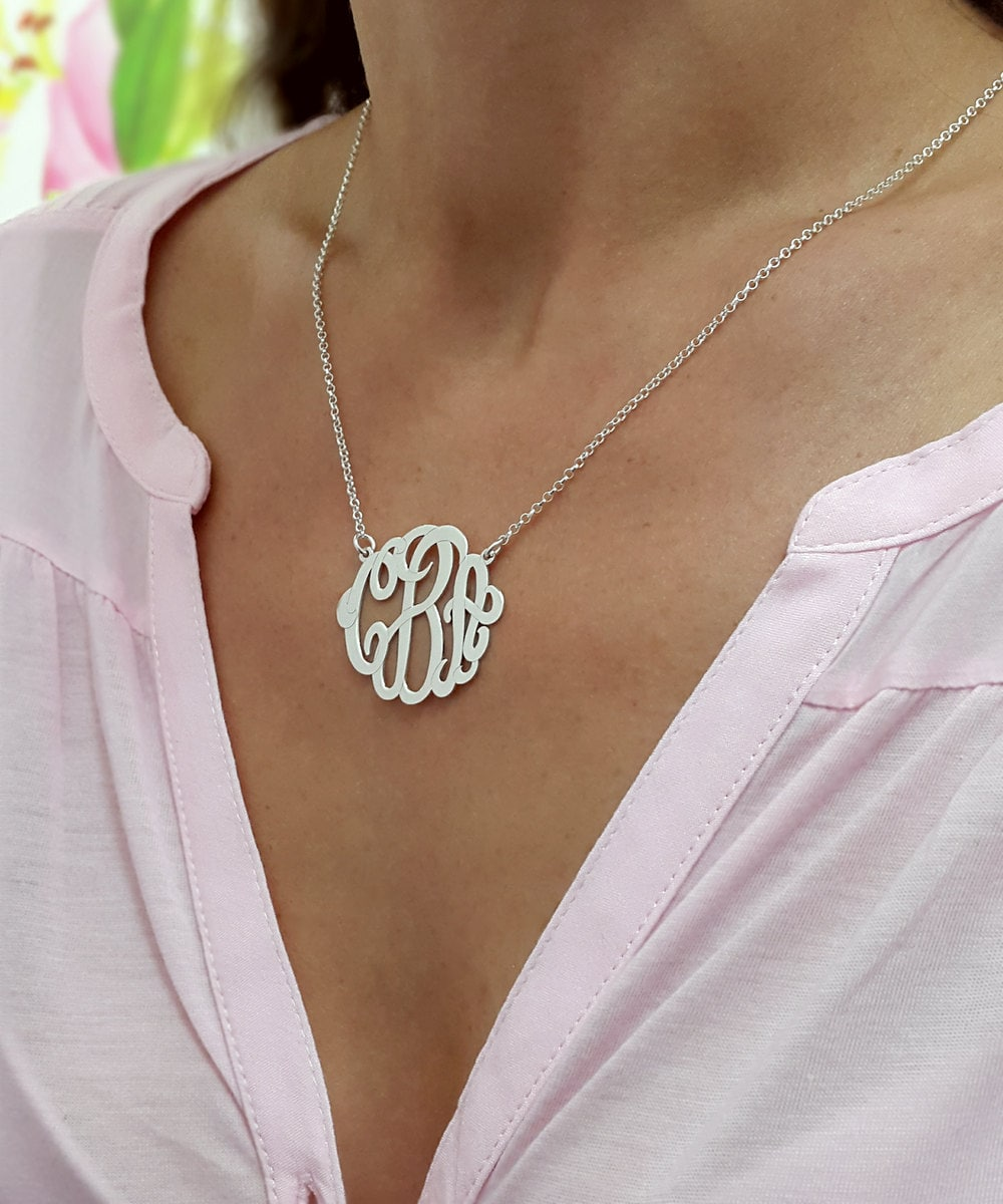 monogram necklace 1 25 inch personalized necklace for