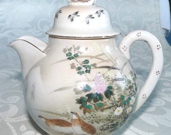 Oriental Tea Pot, Teapot, Hand Painted with Birds and Flowers, Cream, Foliage and Flowers, Hand Made, Hand Crafted, Artisan