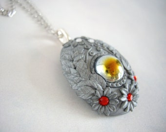 Polymer clay nacklace, Polymer clay floral necklace, Silver polymer clay necklace, Floral nacklace, Cabochon necklace, Handmade necklace