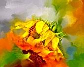 Flower, Sunflower, Red, Orange, Yellow Flower, Green, Painted, Bright Sunflower, Sunflower Art, Sunflower Painting, Sunflower  Wall Art