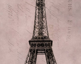 Paris Photography, Eiffel Tower with Tour Ticket, Paris photography Paris Eiffel, wall art Paris  Black, Rose Pink White Zin, Eiffel Art