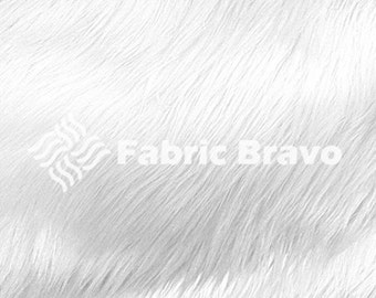 White Pile Luxury Shag Faux Fur Fabric by the yard for costumes, coats, vests, home and studio use 4460