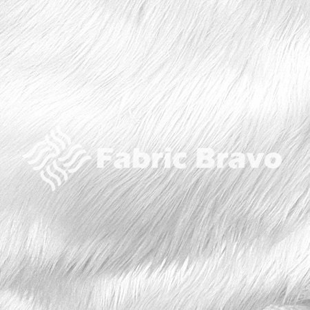 white pile luxury shag faux fur fabric by the yard for. Black Bedroom Furniture Sets. Home Design Ideas