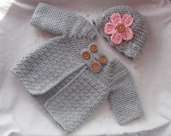 Newborn baby Sweater (Jacket) and Hat Set, Infant Sweater Set, Baby Grey Sweater Set, Baby Gift, 3-6 Months Sweater Set, 6-12 Months Sweater
