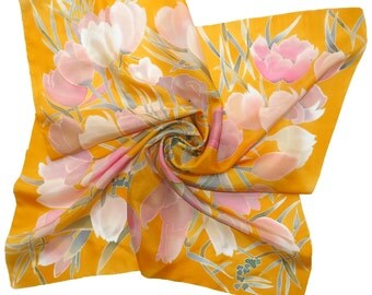 Silk scarf Tulips Pink Flowers Silk yellow hand painted scarf, square scarf Hand painted silk scarf Batik floral scarf.