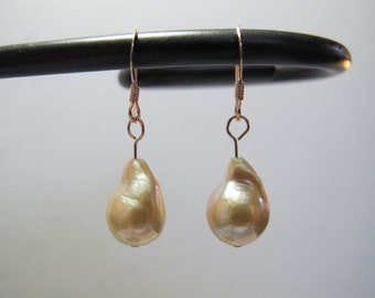 Rose Gold and Pink Baroque Pearl Earrings