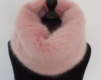faux fur pale pink cowl/snood/scarf/infinity loop/collar/neckwarmer/wrap