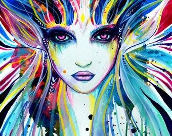 Goddess of colors - signed Art Print