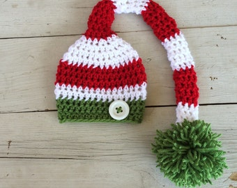 Handmade, crochet christmas hat, elf hat, stocking cap