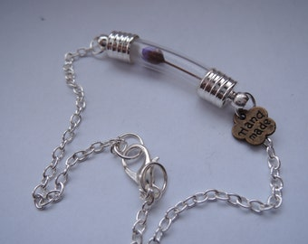 Say it with Flowers :) Miniature Vial bracelet with real dried  miniature Flower ooak Valentines Day
