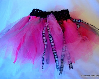 Lovely Pink Goth Tutu, Punk Tutu, Child Tutu, Black, Skulls, Stretch Crochet Waist, Photo Prop, Dress Up