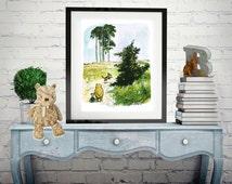 Winnie-the-Pooh classic print,  Vintage book Print, Children art print, Nursery Print,  baby poster
