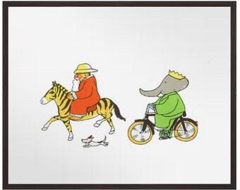 FATHER CHRISTMAS, BABAR, The Elephant, Nursery Print, Story book print, Children's Wall Art print,Vintage French Print, Histoire de Babar
