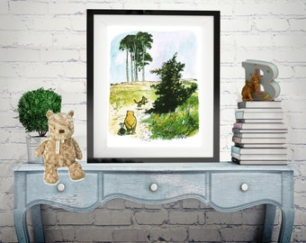Winnie-the-Pooh classic print,  Vintage book Print, Children art print, Nursery Print,  baby poster