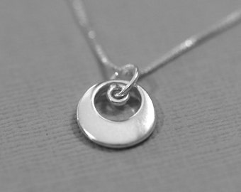 Sterling Silver Circle Necklace, Sterling Silver Necklace