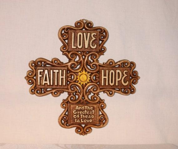 Faith hope and love decorative wall decor cross by for Faith decor
