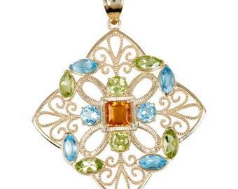 14K Yellow Gold Multicolored Gemstone Pendant, Blue Topaz Pendant, Citrine Pendant, Peridot Pendant, Fancy Jewelry, Fancy Pendant, 14K Gold