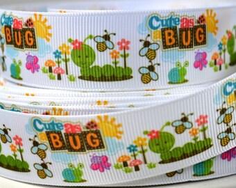 """1"""" Cute As A Bug Printed Grosgrain Ribbon"""