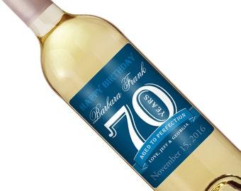 70th Birthday Wine Label - Personalized Wine Label - Custom Wine Label