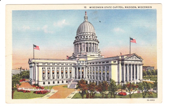 Madison Wisconsin Vintage Postcard Unused