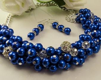 Cobalt Blue Cluster Necklace, Blue Pearl Necklace, Bridesmaid Jewelry, Wedding Necklace Set, Cobalt Blue Jewelry, Pearl Beaded Necklace,