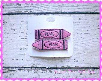 Pink Crayon Hair Clips