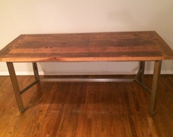 Custom Outdoor/ Indoor Rustic Industrial/ Modern Extendable Reclaimed Wood Dining Table (Made To Order)