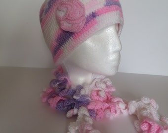 Crochet Women's Hat and Scarf, Winter set, gift Ideas For Her, Winter Accessories,  Hat & scarf, Multi-Color, pink, white, purple, Xmas gift