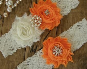 Garter / Wedding Garters / Ivory / Orange / Bridal Garter / Toss Garter / Wedding Garter Set / Vintage Inspired Lace Garter