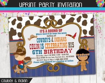 Cowboys and Indians Party Invitation - Cowboys Invite - Indian Invite - Printable -