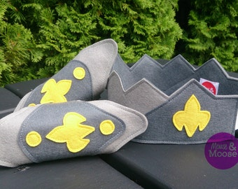 100% Wool Dress up Crown or Play Crown for pretend play. Perfect for costumes, birthdays, Kings and Knights.  Boys Crown