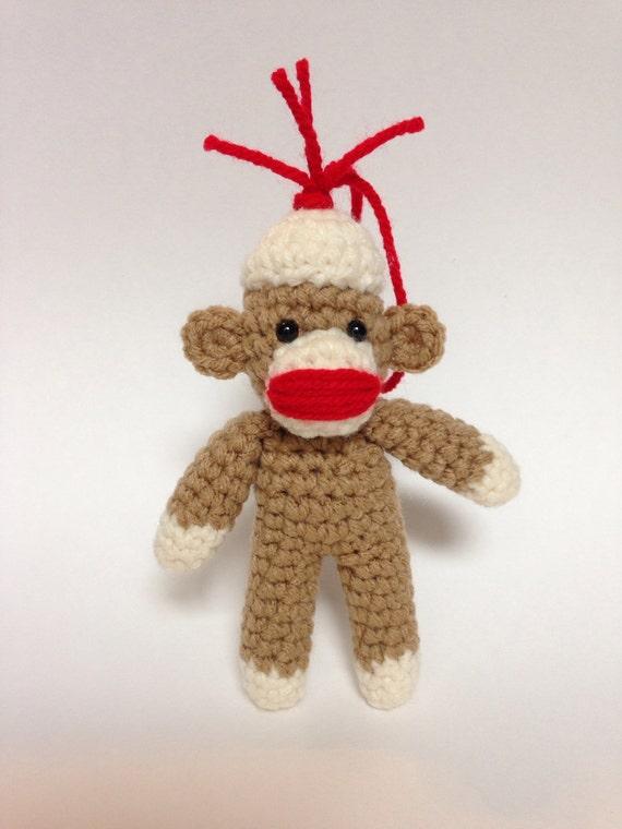 Sock Monkey Ornament Crocheted Amigurumi Ready by ...
