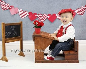 School Desk and Chalkboard set baby photography newborn vintage prop First birthday prop Valentine's Day prop