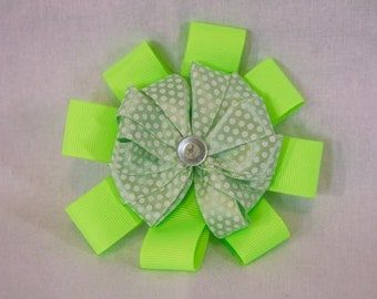 Green Polka Dot Hair Bow Clip