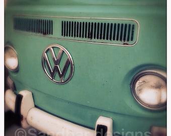 4 x 4 photo card-Sea Green VW bus