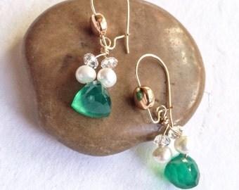 Green onyx gold filled earrings, gemstone earrings, gemstone jewelry, handmade, green earrings, pearl earrings,BronzeLeafStudio