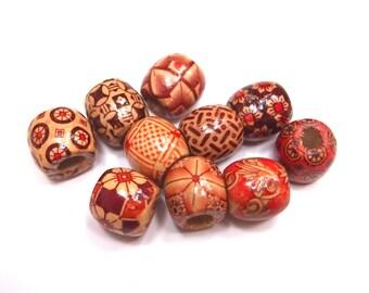 10 Random Wood Dreadlock Beads Set for Necklace Pendant, Bracelet or any DIY Beading Craft