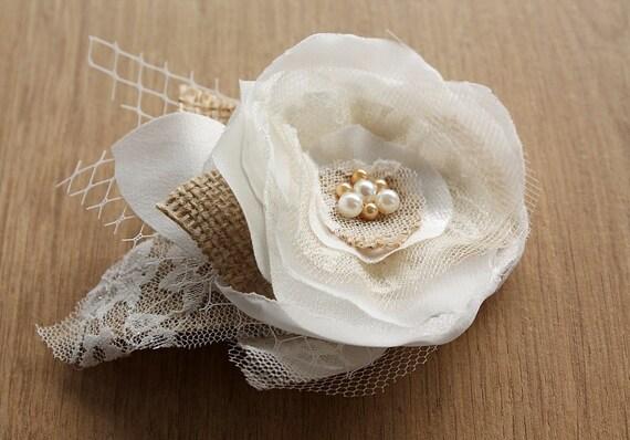 Shabby Chic Bridal Hair Flower, Burlap Bridal Hair Clip, Rustic Head Piece, Woodland Wedding Hair Clip, Cottage Chic, Bridesmaid Hair Flower