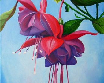 "Picture of ""Fuchsias"",Original oil painting"