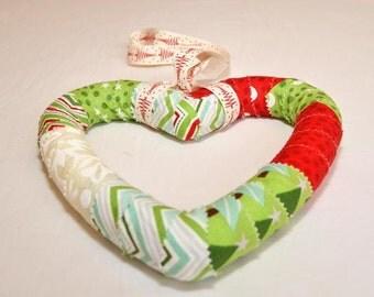 Funky fabric Christmas Heart wreath