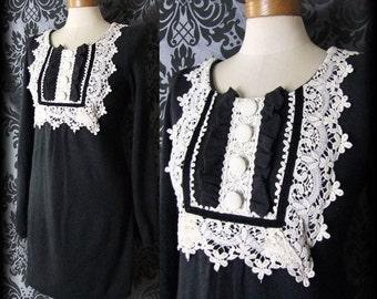 Gothic Black Cream Lace Bib ROSSETTI Button Tea Dress 8 10 Victorian Vintage