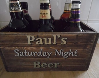 perfect gift for him  . A vintage style beercrate personalised with his name and sentiment .