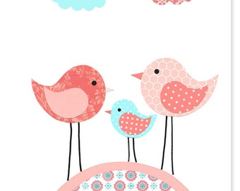 Nursery Art Print Birds Aqua Coral Peach Girl's Room Decor Baby Wall Art Print Paper or Canvas Nursery Bird Art Decor Baby Shower Gift
