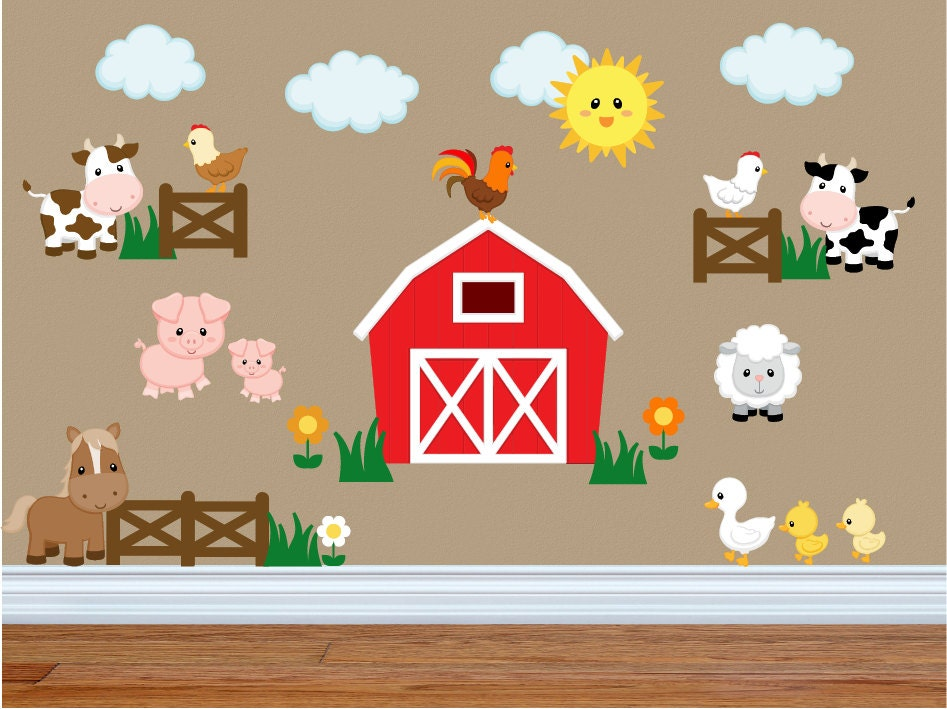 Wall Decals For Kids Bedroom   Farm Animal Wall Decals   Farm Animal Nursery  Decor   Part 46