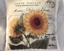 Decorative Pillow Vintage Style Sunflower 2. High Quality Velvet Fabric