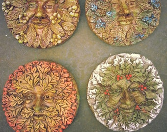 Seasons of the green man. Spring, summer,Autumn, Winter