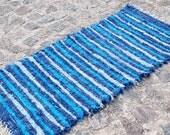 Handwoven Rag Rug, Blue Wool Carpet, Blue rug, Wool rug, Handmade Woven Rug  160 cm  x 68 cm
