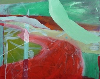 RED GREEN LAND - Abstract Painting -  Original Painting - Iceland Painting - ElizabethAFox - Original Fine Art - Landscape Painting