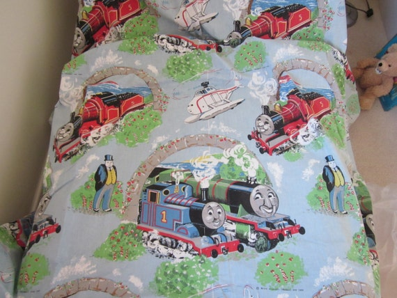 Vintage thomas the tank engine curtains drapes thomas the for Kids train fabric