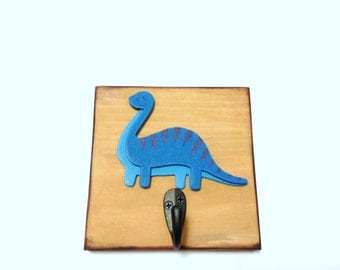 Boys Blue Dinosaur Single Wall Hook T Rex Boys Dinosaurs Wood Wall Sign Boy Nursery Room Decor